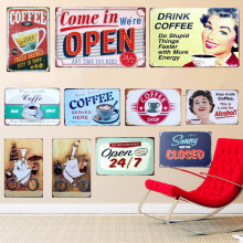 24 Styles SHOP Signs Vintage Metal Tin Sign Cafe Pub Bar Decorative Poster Plaque Home Wall Decor Come In We're Open Plates A764