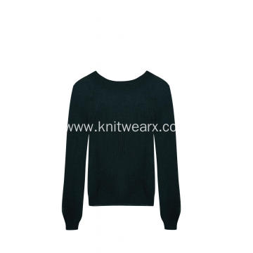 Women's Knitted Mohair Like Loose knitted Crew-Neck Pullover