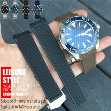 22mm New Style Rubber Silicone Watch Strap Black Blue Brown Watchband Suitable for Tag Heuer CARRERA AQUARACER Series Watch