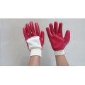 Red pvc coated gloves open back