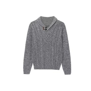 Men's Knitted Cable AB Yarnt Shawl Collar Pullover