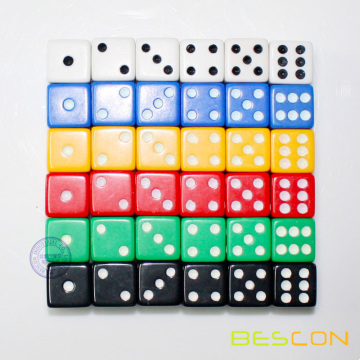 D6 15MM Opaque Plastic Dice in Various Colors
