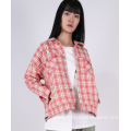 LADIES CROPPED CHECK JACKET