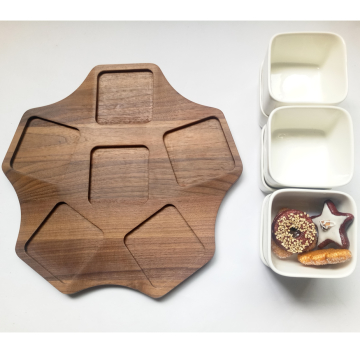 Wooden food tray with ceramic set