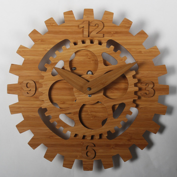 Bamboo Wheel Gear Relojes para colgar en la pared