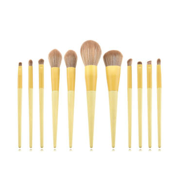11Pcs Best Yellow Makeup Brushes Set Brand