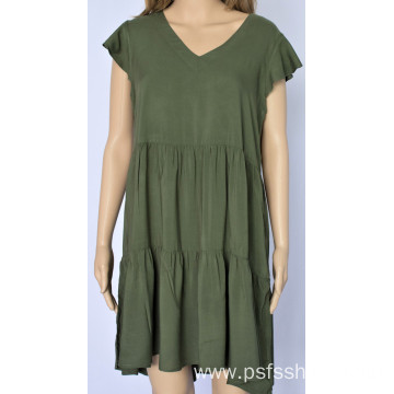 Women V Neck Ptchwork Dress