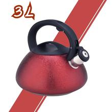 Red Frosted Stainless Steel Whistling Tea Kettle