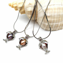 Double Dolphin Cage Pearl Locket Pendant Necklaces