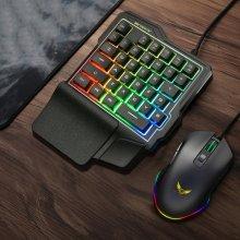 LED Color Backlight One-handed Mechanical Gaming Keyboard 35 Keys Light Mobile Phone Tablet Gaming Keypad for PUBG Game Keyboard