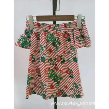 cotton printed floral poplin smocking neck girls top