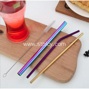 Multicolor Shiny 304 Stainless Steel Metal Straw
