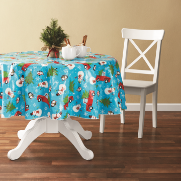 Tablecloth PE with Needle-punched Cotton Snowman Round
