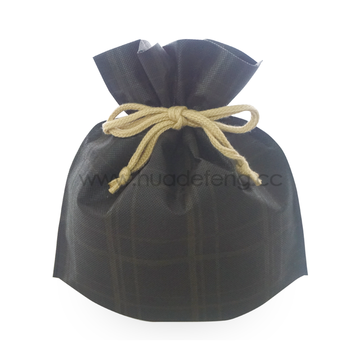 Brown Big Checkered Pattern Drawstring Gift Packaging Bag
