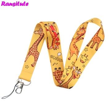 Ransitute Giraffe Cartoon Lanyard Key ID Card Phone Belt USB Badge Holder Fashion Neckband Lanyard Webbing Rope R698