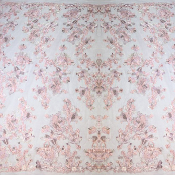 Dirty Pink Flower Light Lace Embroidery Fabric