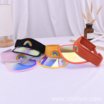 Iridescent mirrored plastic transparent baby sun visor cap