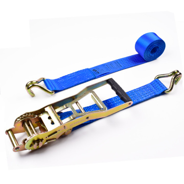"2"" 5000kgs 50mm ERGO Mechanism Ratchet Buckle Tiedowns Blue Straps With 2 Inch Double J Hooks"