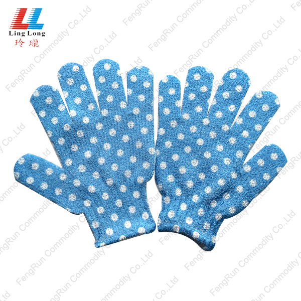 bath gloves blue