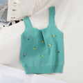 Pearl Diary Knitted Tank Tops Summer Floral Embroidery Crop Top Sleeveless Short Tank Top Femme Knitting Sweet Short Crop Top