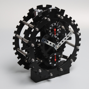 Black Round Mode Gear Alarm Clock