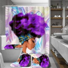 4pcs African American Women Printing Bathroom Sets Waterproof Shower Curtain Anti-Slip Toilet Polyester Cover Mat Bathroom Rug