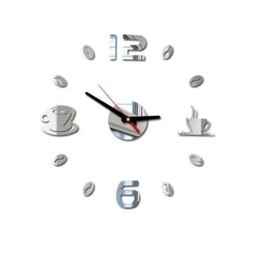 Cafe DIY Large Wall Clock Frameless Giant Wall Clock Modern Design Cafe Coffee Mug Coffee Bean Wall Decor Kitchen Wall Watch New