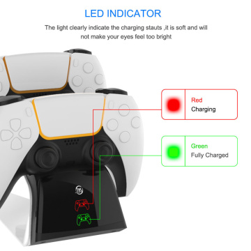 LED Dual Charger Stand Controller Joystick Power Dock for Sony Playstation 5 PS5 Gamepad Charging Station with US Plug
