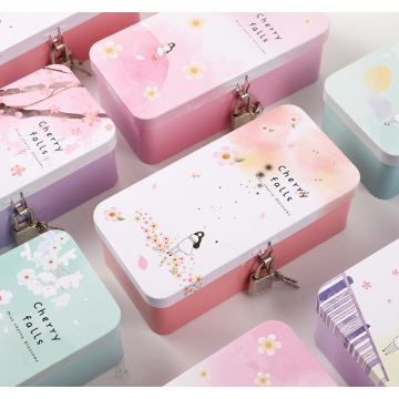 Japan and South Korea creative simple double-layer tinplate storage box student pencil box desktop finishing box