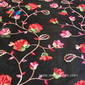 African Tokay Flower Embroidery Women Dress Black Fabric