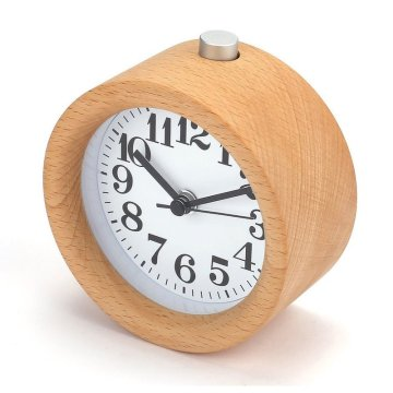 Wooden Clock New Modern Wood Desk Alarm Clock Table Decor Handmade Classic Small Round Wood Silent Clock Desk Lamp for Home