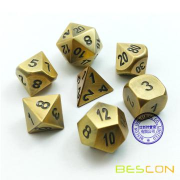 Bescon Brass Solid Metal Polyhedral D&D Dice Set of 7 Copper Metal RPG Role Playing Game Dice 7pcs Set