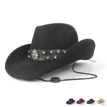 Women Men Wool Sombrero Hombre Hollow Western Cowboy Hat Roll-up Brim Gentleman Outblack Felt Fedora Jazz Cap