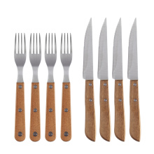 Wooden Handle Steak Knife and Fork for Restaurants