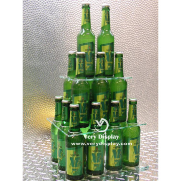 Customized acrylic bottle pyramid display stand