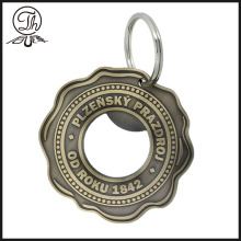 Round flower bottle opener key ring metal