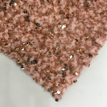 Winter Pink Sequins Embroidery Fabric On Velvet