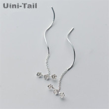 Uini-Tail hot 925 sterling silver plum blossom wave ear wire female long student wild fresh earrings personality temperament