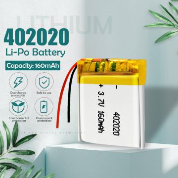 3.7v 160mAh 402020 Lithium Polymer Li-Po Rechargeable Battery For toys GPS MP3 MP4 PAD DVD DIY bluetooth headphone speaker phone