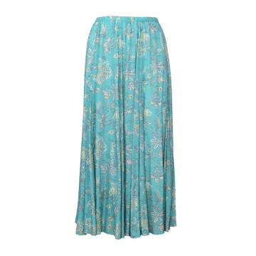 Women Vintage Printing Pleated Long Skirt