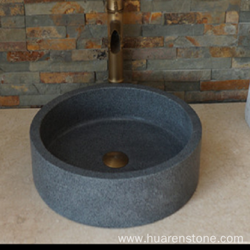 G654 dark grey granite round sink