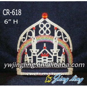 Wholesale Custom Castle Tiara Rainbow Crown