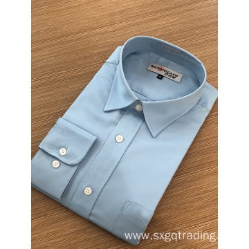 Male solid color 100%cotton long sleeve shirt