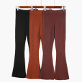 Fashion Women's Hight Waist Wool Knitting Flare Pants