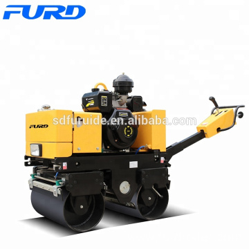 Mini road roller for laying asphalt walking double drum vibratory road compactor(FYL-800C)