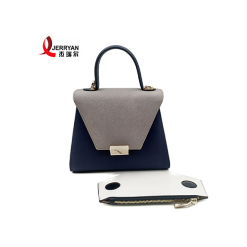 Genuine Leather Blue Tote Bag Sets Organizer