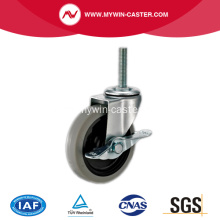 3'' Thread Stem TPR Light Duty Industrial Caster with side brake