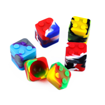 5pcs 11ml square silicone cube jars lego dab wax container dry herb silicone weed jar bho vaporizer oil containers