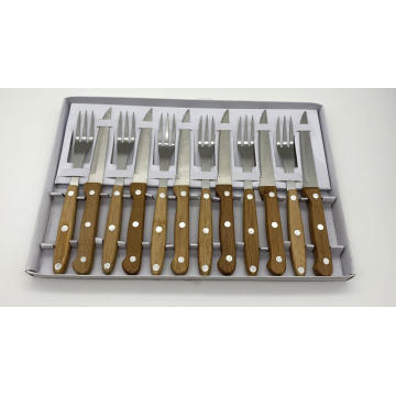 12pcs bamboo handle steak knife and fork set