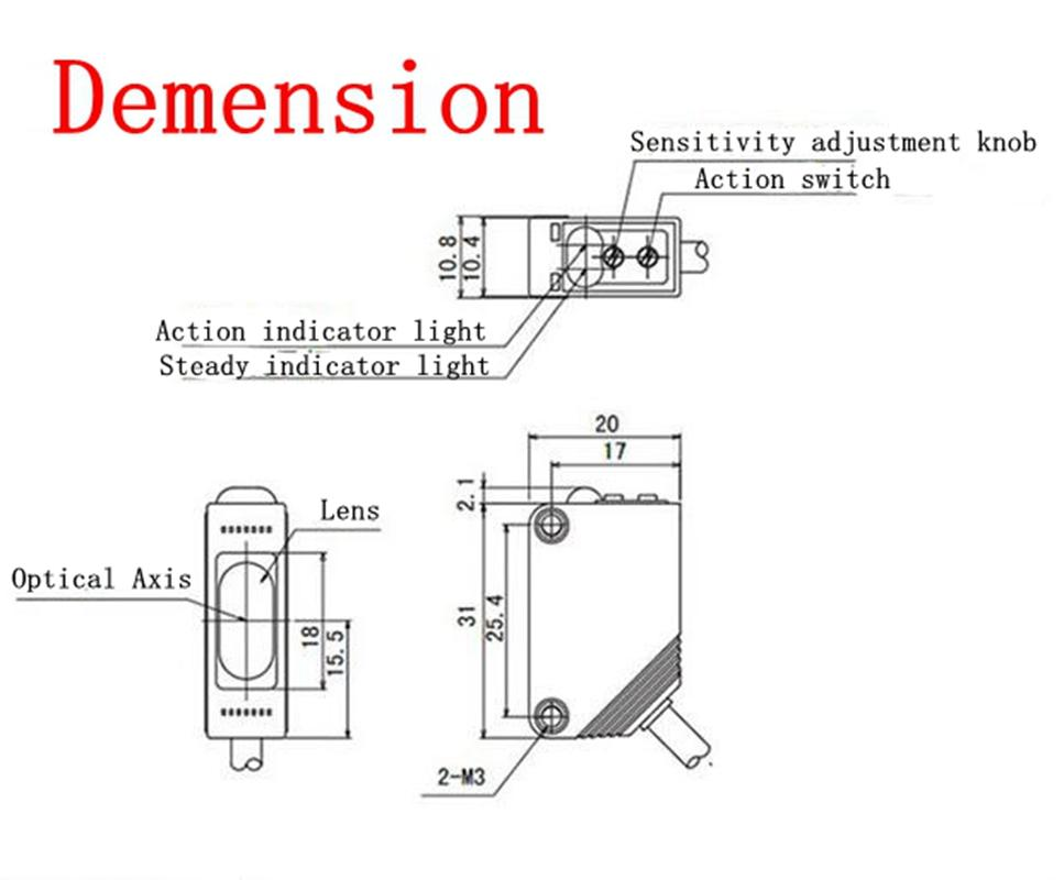 A Set 30-400cm 12-24V DC NPN N/O N/C E3Z/T61 Optoelectronic Switch Proximity Sensor